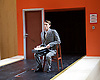 The Trial <br /> by Franz Kafka<br /> adapted by Nick Gill <br /> at The Young Vic Theatre, London, Great Britain <br /> 25th June 2015 <br /> press photocall <br /> <br /> Hugh Skinner as Block <br /> <br /> <br /> Photograph by Elliott Franks <br /> Image licensed to Elliott Franks Photography Services