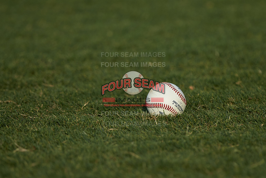 An Appalachian League baseball sits in the grass during the game between the Johnson City Cardinals and the Burlington Royals at Burlington Athletic Stadium on July 15, 2018 in Burlington, North Carolina. The Cardinals defeated the Royals 7-6.  (Brian Westerholt/Four Seam Images)