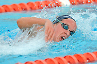 15 October 2010:  FIU's Mary Boucher competes in the 1,000 yard freestyle during the meet between the FIU Golden Panthers and the University of Miami Hurricanes at the Norman Whitten Student Union Pool in Coral Gables, Florida.