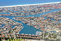 Aerial view homes on canals Long Beach California