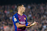 Luis Suarez of FC Barcelona gestures during the La Liga 2018-19 match between FC Barcelona and Sevilla FC at Camp Nou Stadium on October 20 2018 in Barcelona, Spain. Photo by Vicens Gimenez / Power Sport Images