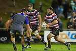 Jared Adams takes on Codie Taylor during The game of Three Halves, a pre-season warm-up game between the Counties Manukau Steelers, Northland and the All Blacks, played at ECOLight Stadium, Pukekohe, on Friday August 12th 2016. Photo by Richard Spranger.