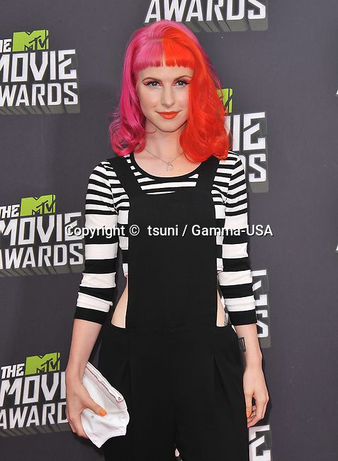 Hayley William, Paramore arriving at the MTV Movie Awards 2013 on the Sony Studio Lot in Los Angeles.