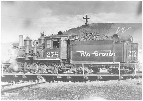 3/4 back fireman's-side view of C-16 #278 on turntable at Gunnison.<br /> D&amp;RGW  Gunnison, CO