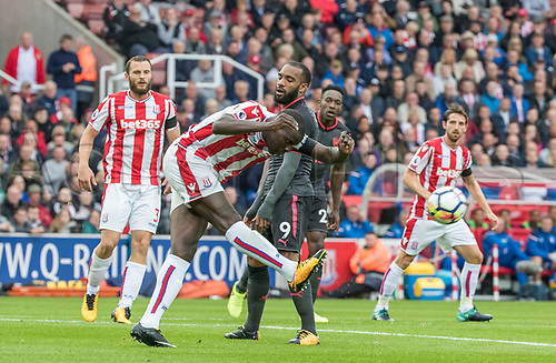 19th August 2017, bet365 Stadium, Stoke-on-Trent, England; EPL Premier League football, Stoke City versus Arsenal; Kurt Zouma of Stoke City makes another strong clearance