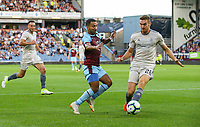 Burnley's Aaron Lennon takes on Aberdeen's Tommie Hoban<br /> <br /> Photographer Alex Dodd/CameraSport<br /> <br /> UEFA Europa League - Europa League Qualifying Round 2 2nd Leg - Burnley v Aberdeen - Thursday 2nd August 2018 - Turf Moor - Burnley<br />  <br /> World Copyright © 2018 CameraSport. All rights reserved. 43 Linden Ave. Countesthorpe. Leicester. England. LE8 5PG - Tel: +44 (0) 116 277 4147 - admin@camerasport.com - www.camerasport.com