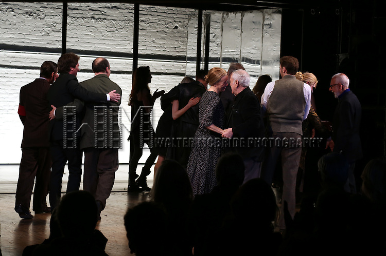 Rob Marshall, Danny Burnstein, Michelle Williams, Alan Cumming, Linda Emond and John Kander during the Broadway Opening Night Performance Curtain Call for 'Cabaret' at Studio 54 on April 24, 2014 in New York City.