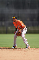 Baltimore Orioles second baseman Alexis Torres (45) during an Instructional League game against the New York Yankees on September 23, 2017 at the Yankees Minor League Complex in Tampa, Florida.  (Mike Janes/Four Seam Images)