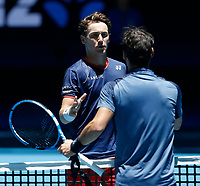 5th January 2020; RAC Arena, Perth, Western Australia; ATP Cup Australia, Perth, Day 3; Italy versus Norway; Casper Ruud of Norway shakes hands with Fabio Fognini of Italy after defeating him in straight sets - Editorial Use