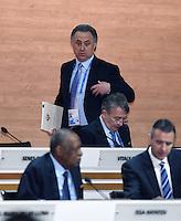 Fussball International Ausserordentlicher FIFA Kongress 2016 im Hallenstadion in Zuerich 26.02.2016 Vitaly MUTKO (oben, Russland, FIFA-Exekutivkomitee) und Wolfgang NIERSBACH (Deutschland, FIFA-Exekutivkomitee)