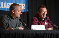 NWA Democrat-Gazette/ANDY SHUPE<br /> Little Rock soccer coach Mark Foster (right) speaks Thursday, Nov. 8, 2018, alongside Arkansas soccer coach Colby Hale during a press conference in Bud Walton Arena ahead of today's NCAA Women's Soccer Tournament first-round game.