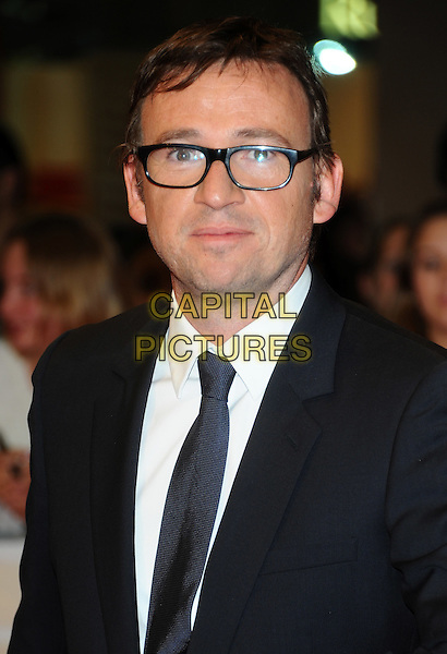 "David Nicholls.""One Day"" UK premiere, Vue Westfield cinema, Westfield Shopping Centre, London, England..August 23rd, 2011.headshot portrait black white shirt tie suit glasses author.CAP/CJ.©Chris Joseph/Capital Pictures."