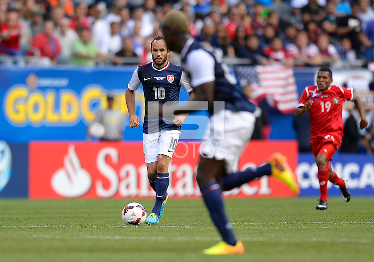 Chicago, IL - Sunday July 28, 2013:  United States forward Landon Donovan (10) dribbles the ball during the CONCACAF Gold Cup Finals soccer match between the USMNT and Panama, at Soldier Field in Chicago, IL.