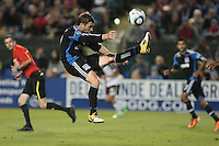 San Jose Earthquakes midfielder Bobby Convey (11) kicks the ball behind him during the Colorado Rapids 2-1 victory over the San Jose Earthquakes at Buck Shaw Stadium in Santa Clara, California.