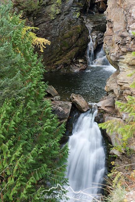 Myrtle Creek Falls in the Selkirk Range west of Bonners Ferry, Idaho.