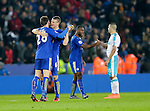 Christian Fuchs and Robert Huth of Leicester City celebrate following the Barclays Premier League match at The King Power Stadium.  Photo credit should read: Malcolm Couzens/Sportimage