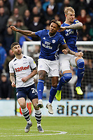 Leandro Bacuna of Cardiff City (C) clashes against team mate Aden Flint (R) during the Sky Bet Championship match between Cardiff City and Preston North End at the Cardiff City Stadium, Wales, UK. Saturday 21 December 2019
