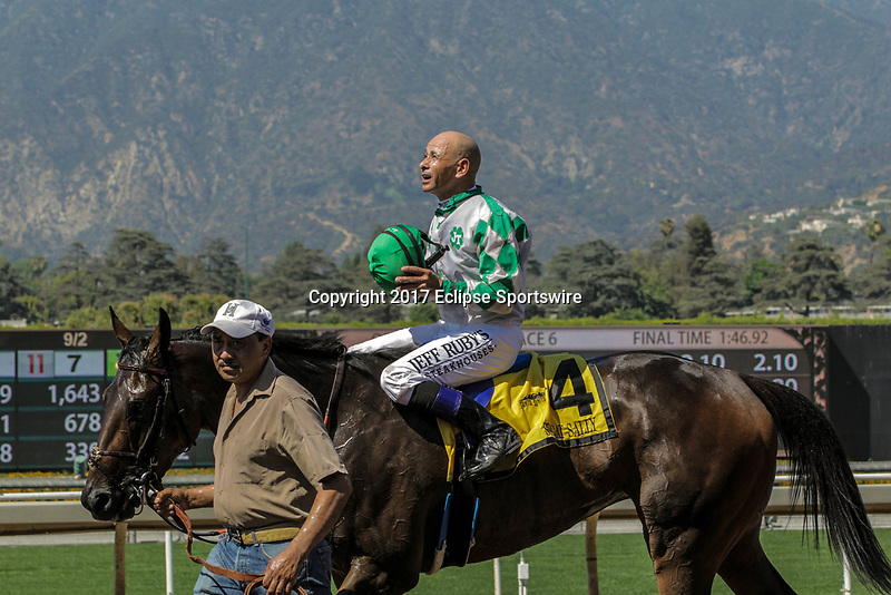ARCADIA, CA. JUNE 17: #4 Sircat Sally ridden by Mike Smith wins the Honeymoon Stakes (Grade ll) on June 17, 2017 at Santa Anita Park in Arcadia, CA(Photo by Casey Phillips/Eclipse Sportswire/Getty Images)