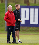 07.05.2018 Rangers training: Jimmy Nicholl and Jonatan Johansson
