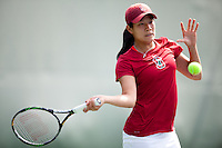 STANFORD, CA - April 14, 2011: Jennifer Yen of Stanford women's tennis during Stanford's dual against St. Mary's. Stanford won 6-1. Yen/Veronica Li lost to St. Mary's Bukajeva/Isip 8-4.