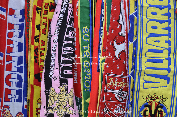 European Soccer teams scarfs for sale in store, Venice, Italy