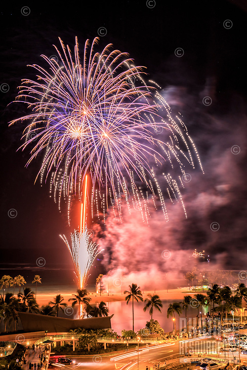 From Waikiki to Ala Moana, everyone can enjoy the weekly Hilton Hawaiian Village fireworks show, Honolulu, O'ahu.