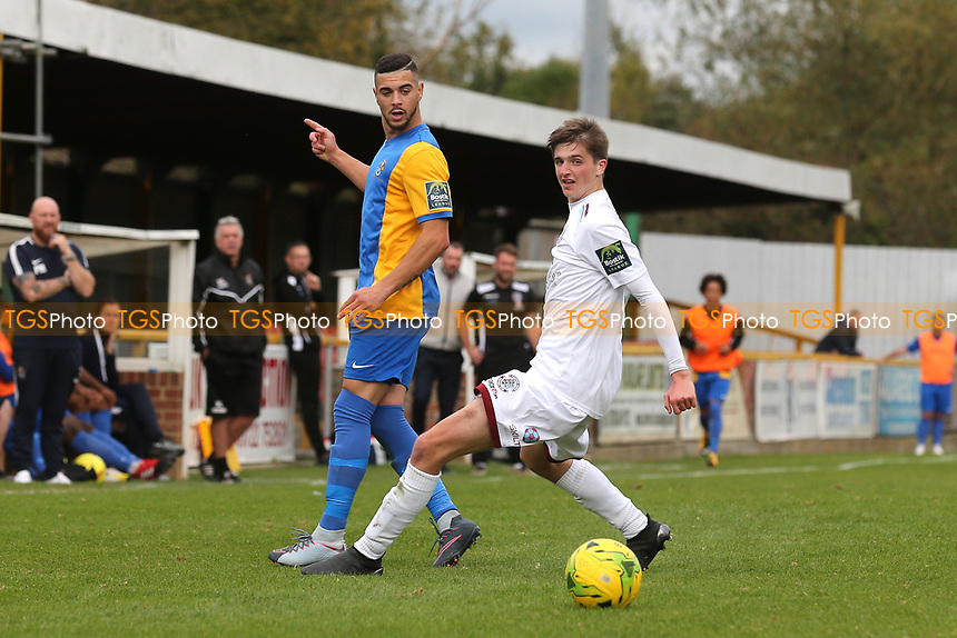 Ben Clarke of Romford and Ollie Black of Hastings during Romford vs Hastings United, FA Trophy Football at Ship Lane on 8th October 2017