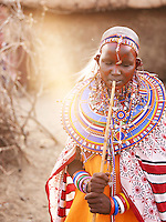 Young Maasai bride on her wedding day, Tipilit village,near Amboseli National Park, Kenya