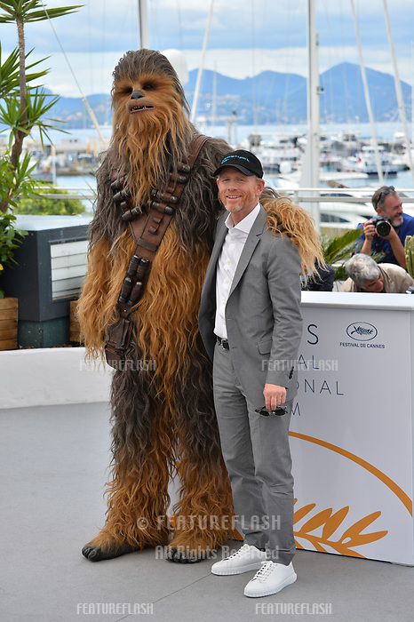 Ron Howard &amp; Chewbacca at the photocall for &quot;Solo: A Star Wars Story&quot; at the 71st Festival de Cannes, Cannes, France 15 May 2018<br /> Picture: Paul Smith/Featureflash/SilverHub 0208 004 5359 sales@silverhubmedia.com