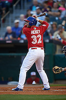 Buffalo Bisons outfielder Chris Heisey (32) at bat during a game against the Pawtucket Red Sox  on August 28, 2015 at Coca-Cola Field in Buffalo, New York.  Pawtucket defeated Buffalo 7-6.  (Mike Janes/Four Seam Images)