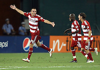 Eric Alexander #24 of FC Dallas celebrates after scoring the third goal during an MLS match against D.C. United at RFK Stadium in Washington D.C. on August 14 2010. Dallas won 3-1.
