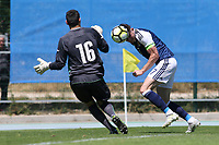 Oliver Burke of Scotland heads the ball just wide of the Czech Republic goal during Czech Republic Under-20 vs Scotland Under-20, Toulon Tournament Football at Stade de Lattre-de-Tassigny on 10th June 2017