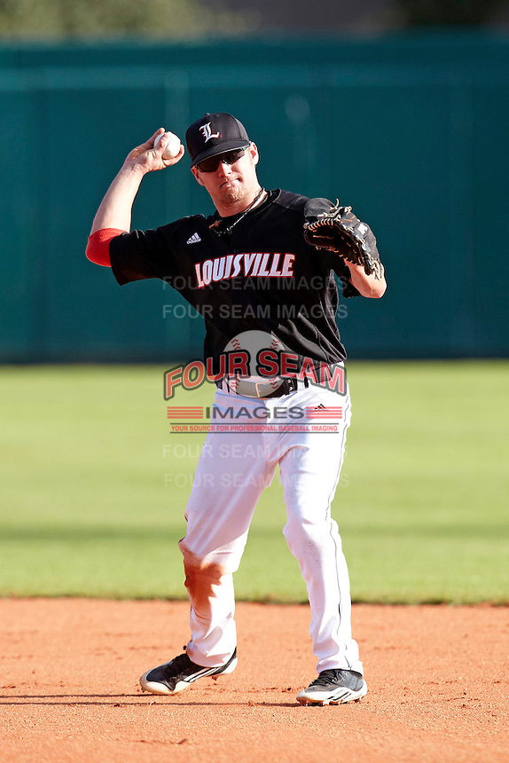 Louisville Cardinals second baseman Nick Ratajczak #1 during a game against the Illinois Fighting Illini at the Big Ten/Big East Challenge at Al Lang Stadium on February 18, 2012 in St. Petersburg, Florida.  (Mike Janes/Four Seam Images)