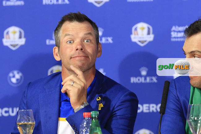Paul Casey (Team Europe) at the press conference after Europe win the Ryder Cup 17.5 to 10.5 at the end of Sunday's Singles Matches at the 2018 Ryder Cup 2018, Le Golf National, Ile-de-France, France. 30/09/2018.<br /> Picture Eoin Clarke / Golffile.ie<br /> <br /> All photo usage must carry mandatory copyright credit (© Golffile | Eoin Clarke)