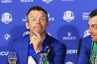 Paul Casey (Team Europe) at the press conference after Europe win the Ryder Cup 17.5 to 10.5 at the end of Sunday's Singles Matches at the 2018 Ryder Cup 2018, Le Golf National, Ile-de-France, France. 30/09/2018.<br /> Picture Eoin Clarke / Golffile.ie<br /> <br /> All photo usage must carry mandatory copyright credit (&copy; Golffile | Eoin Clarke)