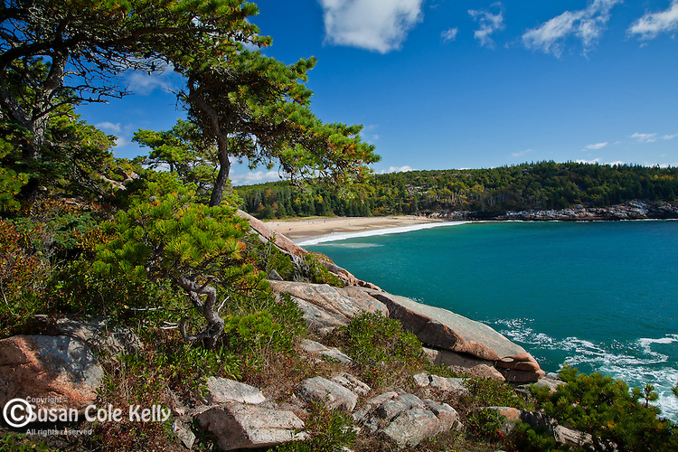 A view of Sand Beach in Acadia National Park, Downeast, ME, USA