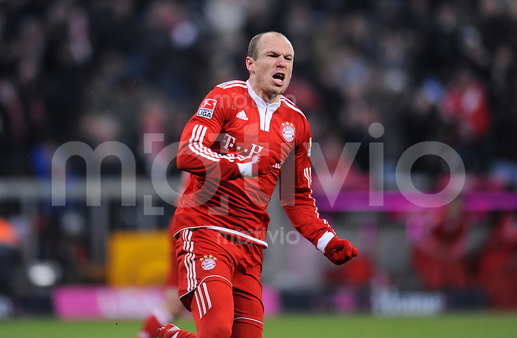 Fussball 1. Bundesliga :  Saison   2009/2010   26. Spieltag   FC Bayern Muenchen - SC Freiburg 13.03.2010 Arjen Robben (FCB)