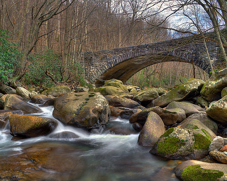 "The boulder-strewn stream at the Chimney Tops Picnic Area is a favorite summer spot for spry visitors to go ""rock hopping"". Three exposure HDR."