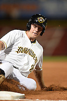 Bradenton Marauders first baseman Jordan Steranka (25) slides into third during a game against the St. Lucie Mets on April 11, 2015 at McKechnie Field in Bradenton, Florida.  St. Lucie defeated Bradenton 3-2.  (Mike Janes/Four Seam Images)