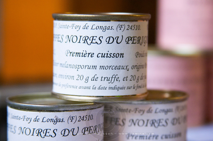 Truffle preparations in tins cans conserves: Truffles Truffetti from Perigord, first preparation Truffiere de la Bergerie (Truffière) truffles farm Ste Foy de Longas Dordogne France
