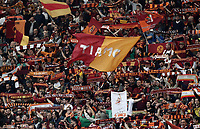 Calcio, Serie A: Roma, stadio Olimpico, 30 aprile 2017.<br /> AS Roma's supporters hold scarfs and flags before the Italian Serie A football match between AS Roma and Lazio at Rome's Olympic stadium, April 30, 2017.<br /> UPDATE IMAGES PRESS/Isabella Bonotto