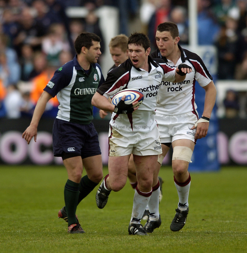 Photo. Jed Wee..Newcastle Falcons v London Irish, Zurich Premiership, 30/04/2005..Newcastle's Cory Harris.