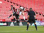 James Hanson of Sheffield Utd heading the ball during the Carabao Cup round One match at Bramall Lane Stadium, Sheffield. Picture date 9th August 2017. Picture credit should read: Jamie Tyerman/Sportimage