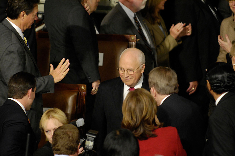 WASHINGTON, DC - Jan. 28: Vice President Dick Cheney arrives to watch President George W. Bush deliver his final State of the Union address to a joint session of the U.S. Congress.  (Photo by Scott J. Ferrell/Congressional Quarterly)