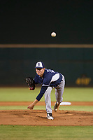 AZL Padres starting pitcher MacKenzie Gore (25) follows through on his delivery against the AZL Indians on August 30, 2017 at Goodyear Ball Park in Goodyear, Arizona. AZL Padres defeated the AZL Indians 7-6. (Zachary Lucy/Four Seam Images)