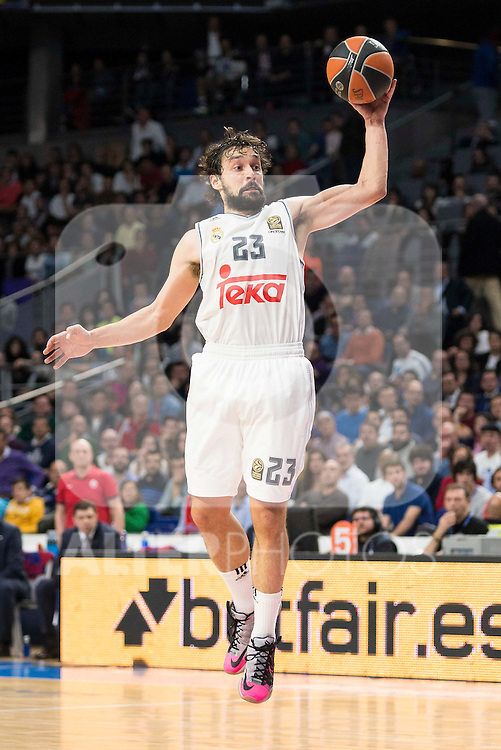Real Madrid's player Sergio Llull during the match between Real Madrid and CSKA Moscu of Turkish Airlines Euroleague at Barclaycard Center in Madrid, March 02, 2016. (ALTERPHOTOS/BorjaB.Hojas) during the match between Real Madrid and CSKA Moscu of Turkish Airlines Euroleague at Barclaycard Center in Madrid, March 02, 2016. (ALTERPHOTOS/BorjaB.Hojas)