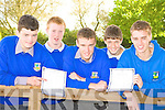 Castleisland Community College pupils delighted with their Junior cert results on Wednesday l-r: Niall O'Mahony, Bobby Cotter, JJ Casey, Eamon McLoughlin and Donagh O'Connell