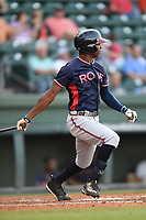Left fielder Justin Ellison (5) of the Rome Braves bats in a game against the Greenville Drive on Wednesday, May 31, 2017, at Fluor Field at the West End in Greenville, South Carolina. Greenville won, 7-1. (Tom Priddy/Four Seam Images)