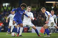 Willian of Chelsea shields the ball from Dynamo Kiev's Mykola Shaparenko during Chelsea vs Dynamo Kiev, UEFA Europa League Football at Stamford Bridge on 7th March 2019