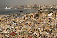 Tripoli; Libya; North Africa -- Medina in foreground; newer city in background.; Turkish fort; Seraya al-Hamra; in center.; The corniche; or sea-side highway; was built on land fill in the 1980s.